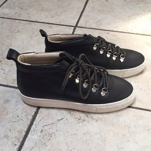 Zara Black Leather Hi-Top Sneakers sz 37 (6.5)